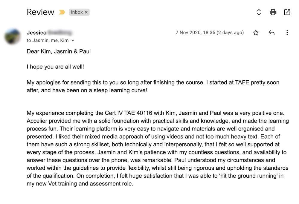 Review from TAE Cert IV Online graduate