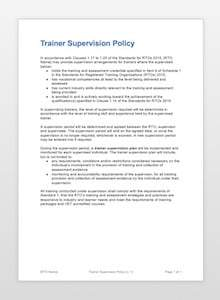 Trainer Supervision Policy Document for RTOs (thumbnail)